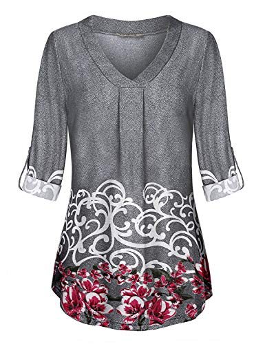 Button Cuff Print Blouse - Baikea Floral Blouses for Women Plus Size, Juniors Notch Neck Tab Sleeve Shirt Cuff Button Rouched Print Pattern Tunic Length Knitted Roomy Leisure Wear Tops Light Grey XXL