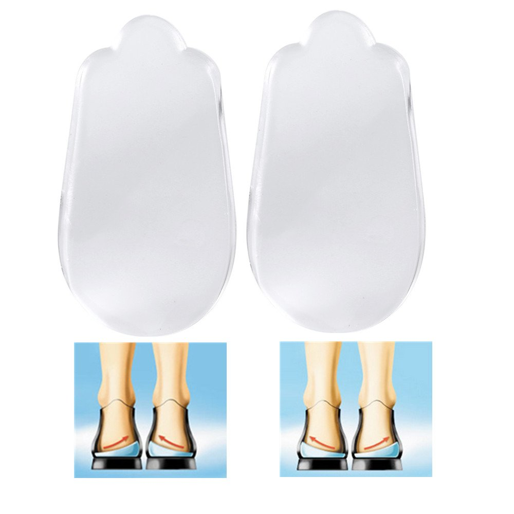 Heel Pads, Heel Cushion Ultr Soft Silicone Heel Insoles Absorb Shocks for Heel Pain & Plantar Fasciitis Women and Men Shoes Insoles Lift Insert Pads for O/X Legs Correction Support 1 Pair ZJchao