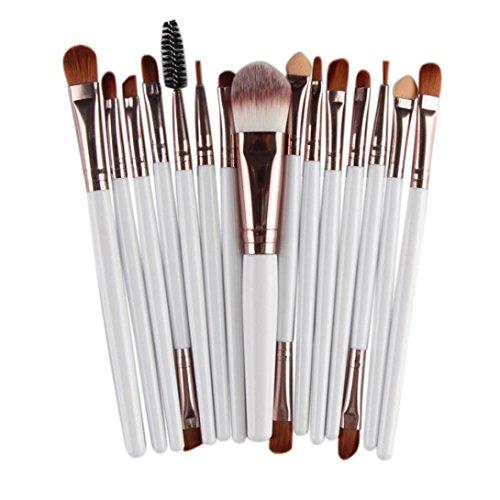 (Hot Sale! Makeup Brush Set,Canserin 15 pcs Makeup Brush Set Tools Make-up Toiletry Kit Wool White Make Up Brush Set)