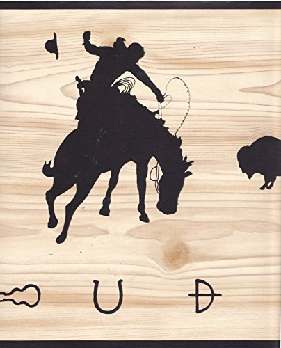 Prepasted Wall Border AD2035B Cowboy Western Woodgrain with Black Silhouettes Imperial Wallcoverings