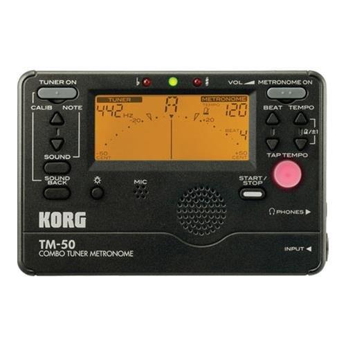Korg TM50BK Instrument Tuner and Metronome, Black (Korg Guitar Tuner And Metronome)