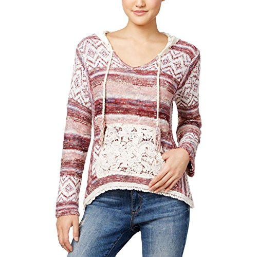 Wool Lace Cardigan (American Rag Womens Juniors Hooded Lace Pullover Sweater Red S)