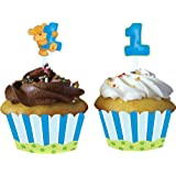12-Count Cupcake Wrappers with Picks, Bears First Birthday, Blue
