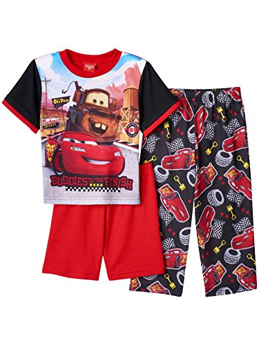Disney Cars Lightning McQueen Tow Mater Boys 3 Piece Pajamas PJ Set (3T, Red/Black) Cars Pajamas Pjs