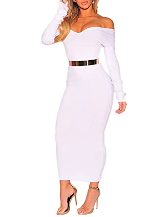 3ed840af92e Trendy Boutique Womens Off Shoulder Ribbed Long Sleeve Bodycon Maxi Dress  Medium White