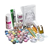 ANBOO Pro 26 Acrylic Nail Art Kit Tips Powder Crystal Liquid Brush Glitter Carved Pollen Set