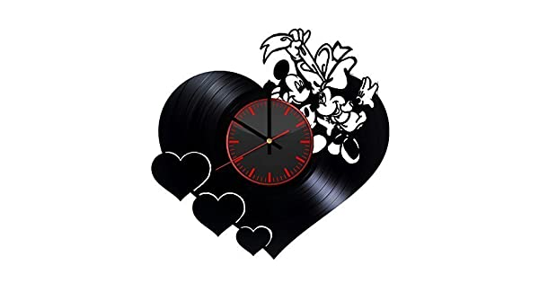 Mickey and Minnie 25th Anniversary Disney Design Vinyl Record Wall Clock Unique gifts for him her Gift Ideas for Mothers Day Father birthday anniversary wedding cute and original gifts for everybody