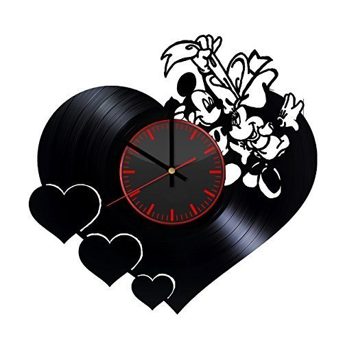 Mickey and Minnie 25th Anniversary Disney Design Vinyl Record Wall Clock Unique gifts for him her Gift Ideas for Mothers Day Father birthday anniversary wedding cute and original gifts for ()