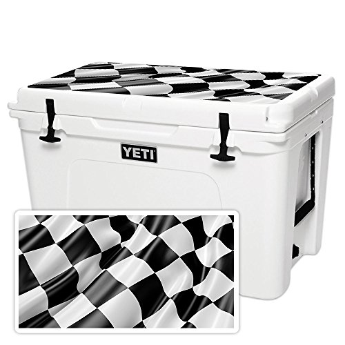 MightySkins (Cooler Not Included) Skin Compatible with YETI Tundra 105 qt Cooler Lid - Race Flag | Protective, Durable, and Unique Vinyl Decal wrap Cover | Easy to Apply | Made in The USA