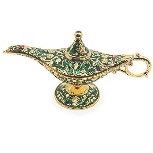AVESON Luxury Classic Vintage Collectable Rare Legend Aladdin Magic Genie Costume Lamp Home Table Decoration & Gift, Golden Green -
