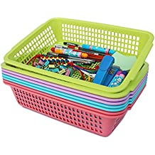 Honla Plastic Storage Baskets Organizer with Built-in Handles,Set of 8 in 4 Assorted Colors,13.5 x 9.5 x 3.25-inch