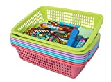 Plastic Storage Baskets Organizer with Built-in Handles,Set of 8 in 4 Assorted Colors,13.5 x 9.5 x 3.25-inch
