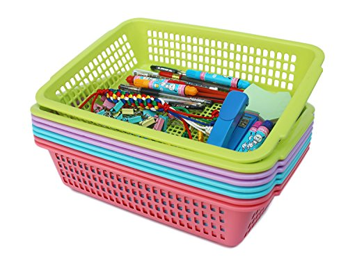 Plastic Storage Baskets Organizer with Built-in Handles,Set of 8 in 4 Assorted Colors,13.5 x 9.5 x (Plastic Rectangular Basket)