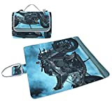 LORVIES Sport Motorcycle Bike Picnic Blanket Tote Handy Mat Mildew Resistant and Waterproof Camping Mat for Picnics, Beaches, Hiking, Travel, RVing and Outings