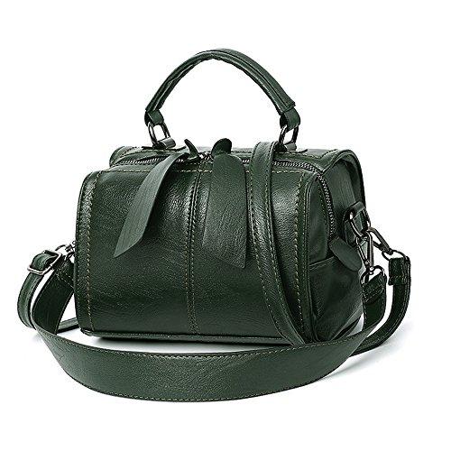 Mn&Sue Women Small Boston Bag PU Leather Handbag Top Handle Barrel Design Satchel Crossbody Lady Purse (Olive Green) (Bag Boston Messenger)
