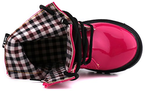 LONSOEN Boys Girls Waterproof Lace/Zip up Kids Boots, Hot Pink, KDB002 CN31 by LONSOEN (Image #5)