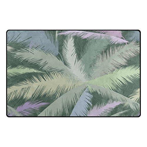 INGBAGS Super Soft Modern Vintage Palm Tropical Leaf Area Rugs Living Room Carpet Bedroom Rug for Children Play Solid Home Decorator Floor Rug and Carpets 31 x 20 Inch (Tropical Style Living Room)