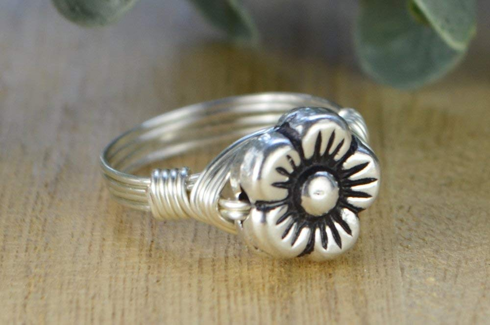 Custom made to size 4-14 Yellow or Rose Gold Filled Wire Wrapped Ring Sterling Silver Flower Bead with Sterling Silver