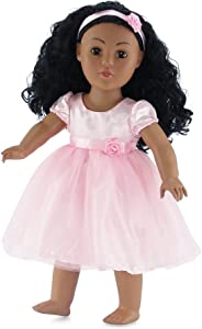 Emily Rose 18 Inch Doll Clothes | Lovely Pink Spring Doll Dress, Includes Matching Rosette Headband | Fits 18