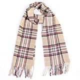 Winter Cashmere Cooling Lightweight Scarf for Women Mens Plaid Ladies Scarves (Khaki+Black)
