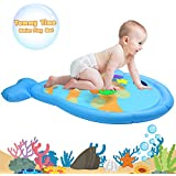 serendipper Water Play Mat, Inflatable Fish Shape Baby Tummy Time Water Mat with Floating Marine Creatures Inside, BPA Free Leakproof PVC Water Playmat for Infants Cooling and Playing in Summer