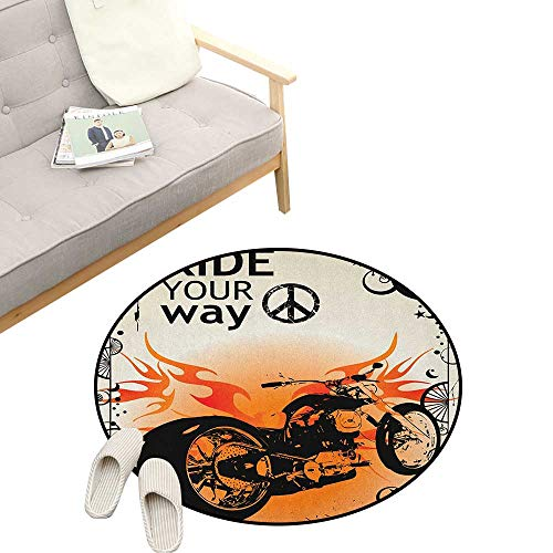 Manly Round Area Rug Non-Slip ,Motorcycle Image with Ride Your Way Text Peace Sign Freedom Action Freestyle, Living Room Bedroom Coffee Table 23