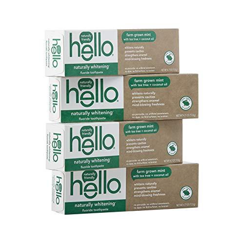 Hello Naturally Whitening Fluoride Toothpaste, Farm Grown Mint, Vegan, SLS Free, Gluten Free, Peroxide Free, 4.7 Ounce…