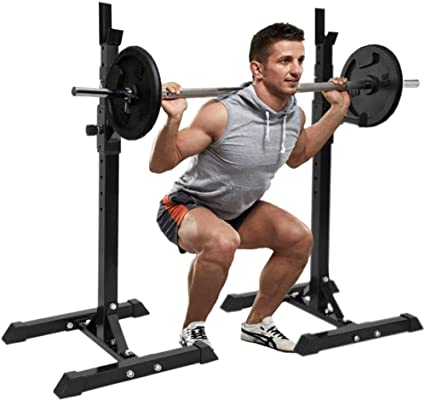 Pair of Squat Rack Stand,Multi-Function Adjustable Barbell Rack Dip Stand Squat Stand,Free Press Bench Dumbbell Racks Stands for Home Gym,Weight Lifting Bench Max Load 441 LBS