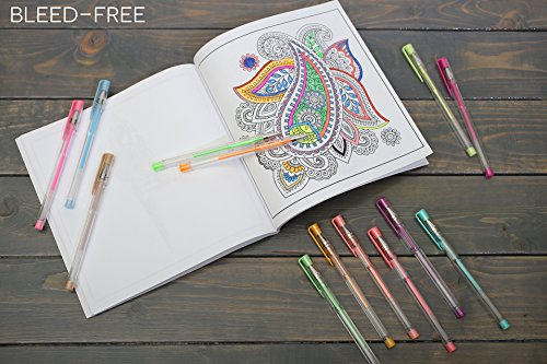 Glitter Gel Pens set - 15 Unique colors pens with Case from Uchtam -Best suited for Adult coloring book and Gifts. Non-Toxic, Long Lasting Ink, Acid Free, Smooth Ink Flow Photo #3