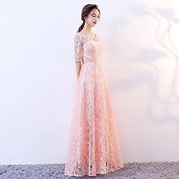 JKJHAH Vestido De Noche Para Mujer Banquete Encaje Fiesta Para Fiesta Femenina, Meat Pink,