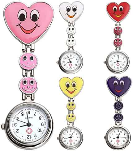 Top Plaza Pack of 5 Colorful Heart Smiling Face Nurse Fob Clip On Brooch Hanging Pocket Watches