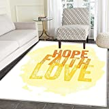 Hope Area Rug Inspirational Religious Hope Faith Love Quote with Grunge Letters Indoor/Outdoor Area Rug 2'x3' Orange Yellow and Pale Yellow