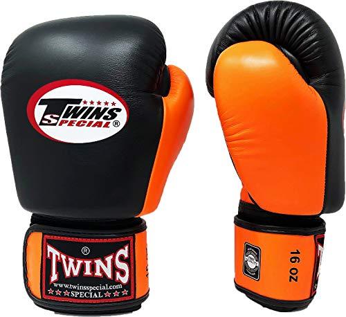 Twins Special Boxing Gloves BGVL3 Leather MMA UFC Muay Thai Kick Boxing K1 Karate Training Punching Gloves (Black/Orange, 14 oz)