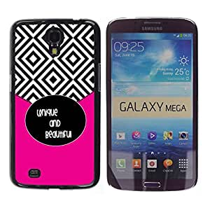 Caucho caso de Shell duro de la cubierta de accesorios de protección BY RAYDREAMMM - Samsung Galaxy Mega 6.3 I9200 SGH-i527 - Tiles Black White Beautiful Text