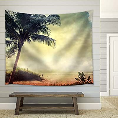 Lovely Handicraft, With Expert Quality, Retro Style Landscape with Palm Tree and Sea