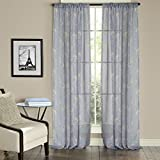 Nicetown Rustic Faux Linen Floral Print Pattern Decorative Sheer Window Curtains / Voiles (One Pair, W50 x L84, Dove Grey)