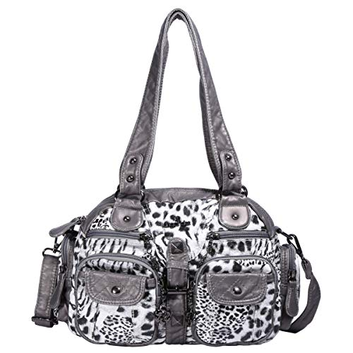 - Angelkiss Women's Leopard Print Leather Hobo Shoulder Bags Satchel Purse Top-handle Handbags with Zipper (Grey-1)