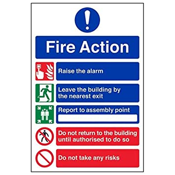 VSafety 5 Message Risks Fire Action Notice Sign 150mm x 200mm 1mm Rigid Plastic