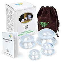 Cupping Massage Kit - The Most Recommended Therapy Set For Muscle Soreness, Pain Relief, Injury Recovery, Transparent Silicone Massage Body Message Suction Cups Therapy Set Professional Medical Grade 4 Cups, Clear