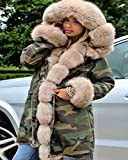 Roiii® Thickened Faux Fur Camouflage Parka Women Hooded Long Winter Jacket Overcoat (Small, Multi Green)