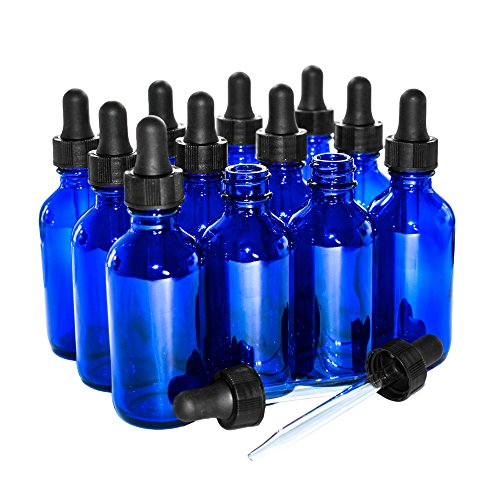 (12 Pack) 2 oz. Cobalt Boston Round with Black Glass Dropper