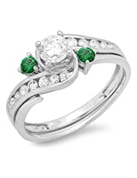 0.90 Carat (ctw) 10k White Gold Round Green Emerald And White Diamond Swirl Bridal Engagement Ring Set