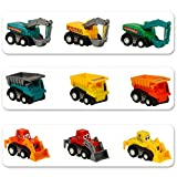 Toys : Mini Push Pull Back Car Model Kit Set Plastic 9 Pcs Play Vehicles Party favors Construction Excavator Dump Truck Playset Preschool Learning for Children Toddlers Kids Birthday Gift