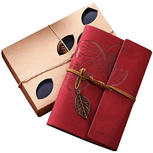 WAGOLO Leather Journal Loose Leaf Writing Notebook, Art Sketchbook, Travel Diary Notebooks, Antique Handmade Daily Notepad with Blank Pages and Retro …