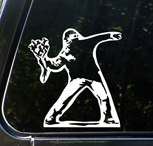 Yadda-Yadda Design Co. Molotov Guy Throwing Flowers - Car Vinyl Decal Sticker - (5.75