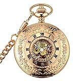 Mens Vintage Steampunk Skeleton Hand-Winding Mechanical Pocket Watch Chain