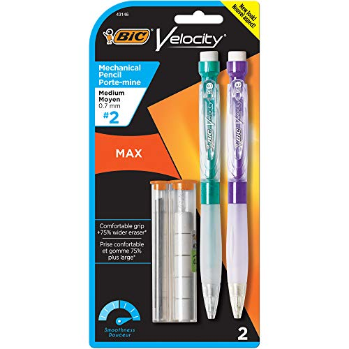 (BIC Velocity Max Mechanical Pencil, Medium Point (0.7mm), 2-Count)