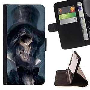 Dragon Case- Caja de la carpeta del caso en folio de cuero del tir¨®n de la cubierta protectora Shell FOR Samsung Galaxy S4 IV I9500 i9508 i959- Skull Devil Pattern Sugar Skull Skulls