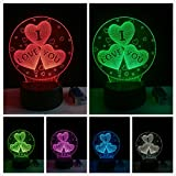 I Love You 3D Lamp Romantic Night Light LED Decorative Table Lamp USB Colorful Color Change Couple Valentine's Day Gift