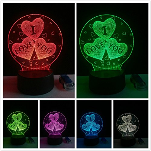 I Love You 3D Lamp Romantic Night Light LED Decorative Table Lamp USB Colorful Color Change Couple Valentine's Day Gift by Fashionyourlife